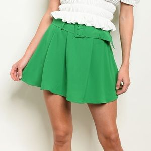 Green high waisted belted loose skirt style shorts